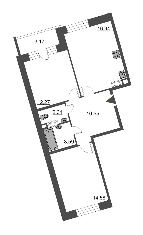 2-комнатная 61 м<sup>2</sup> на 6 этаже