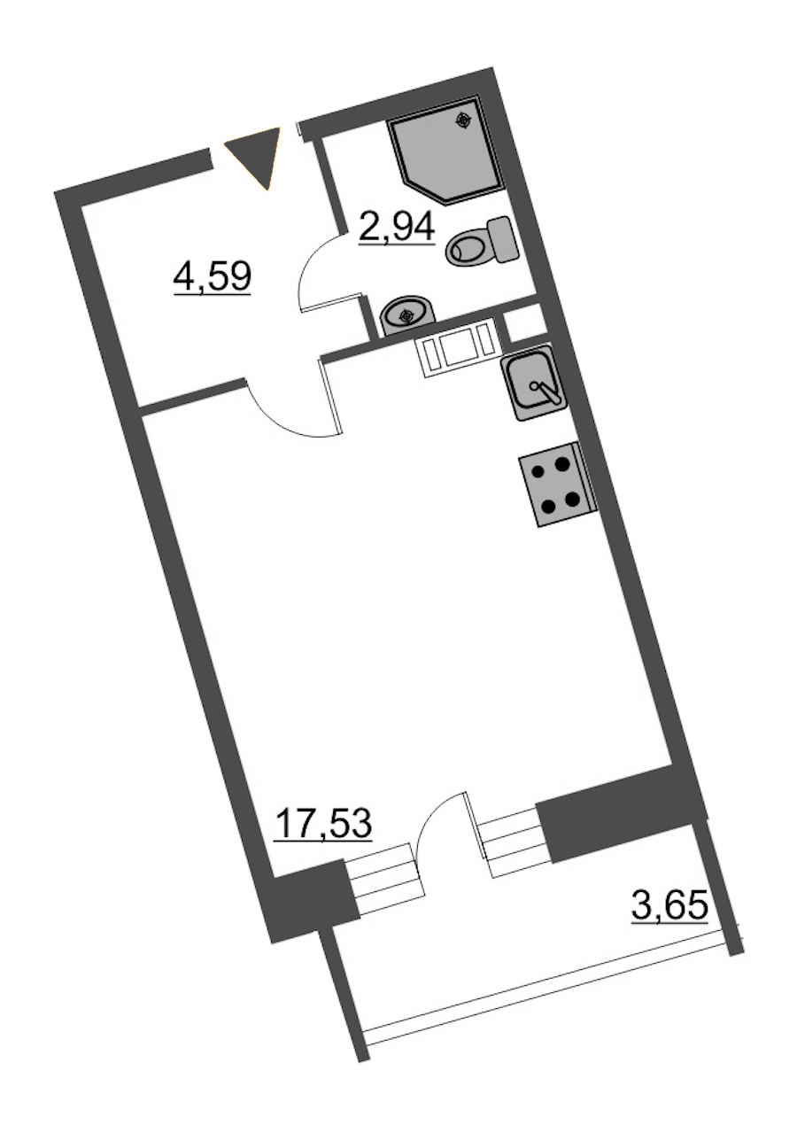 Студия 26 м<sup>2</sup> на 6 этаже