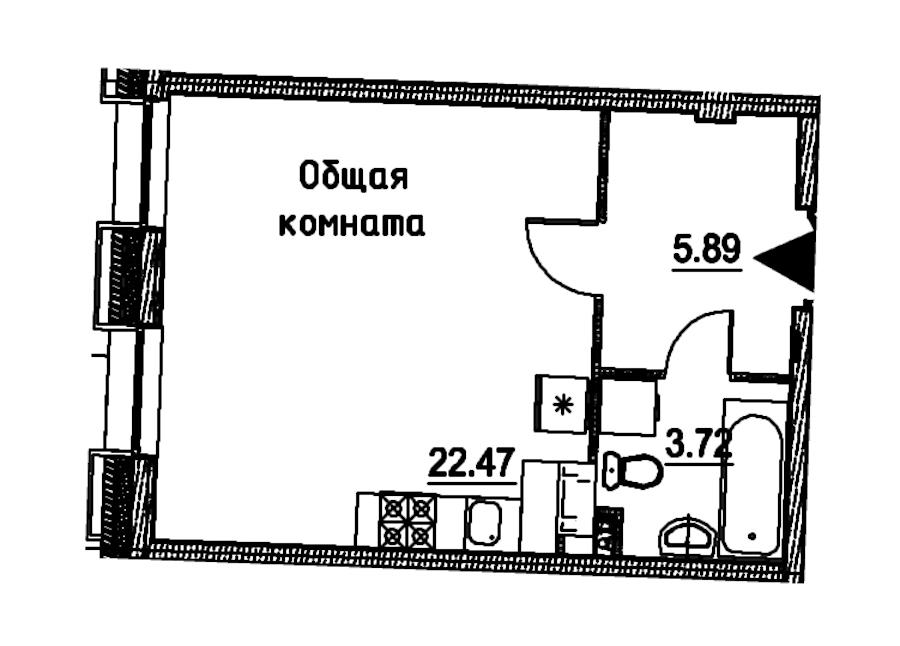 Студия 32 м<sup>2</sup> на 4 этаже