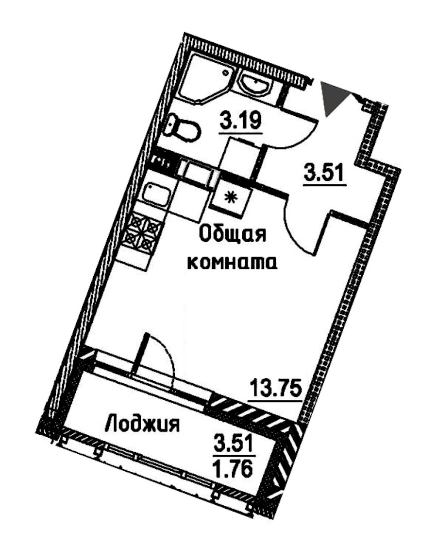 Студия 22 м<sup>2</sup> на 11 этаже