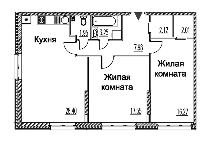 2-комнатная 79 м<sup>2</sup> на 2 этаже