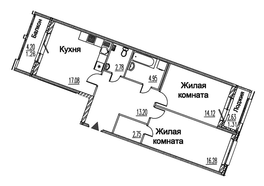 2-комнатная 73 м<sup>2</sup> на 2 этаже