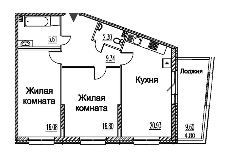 2-комнатная 75 м<sup>2</sup> на 2 этаже