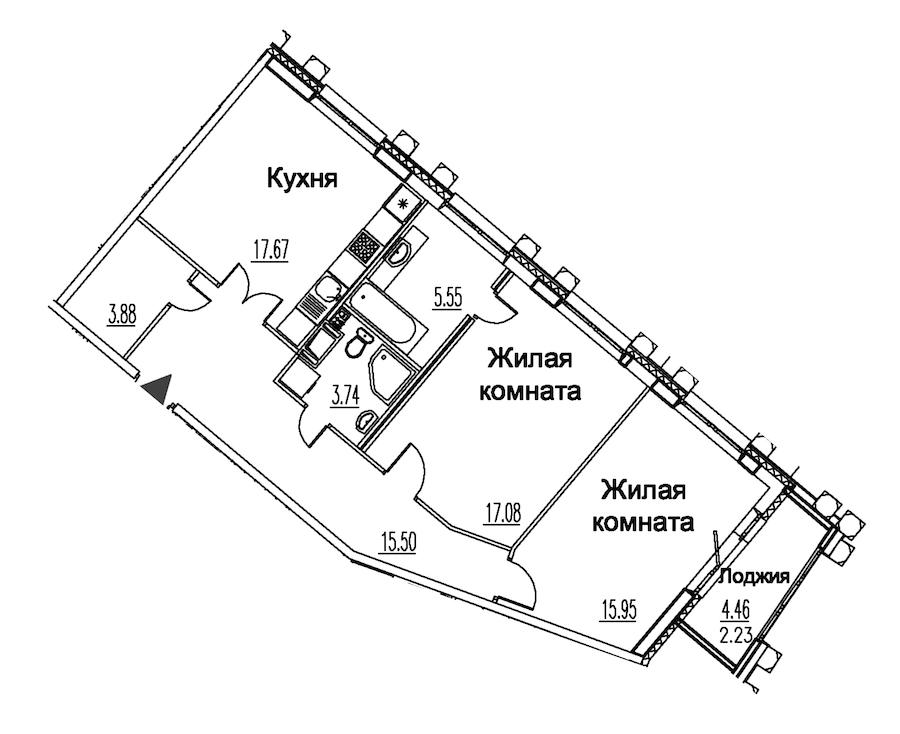 2-комнатная 81 м<sup>2</sup> на 12 этаже