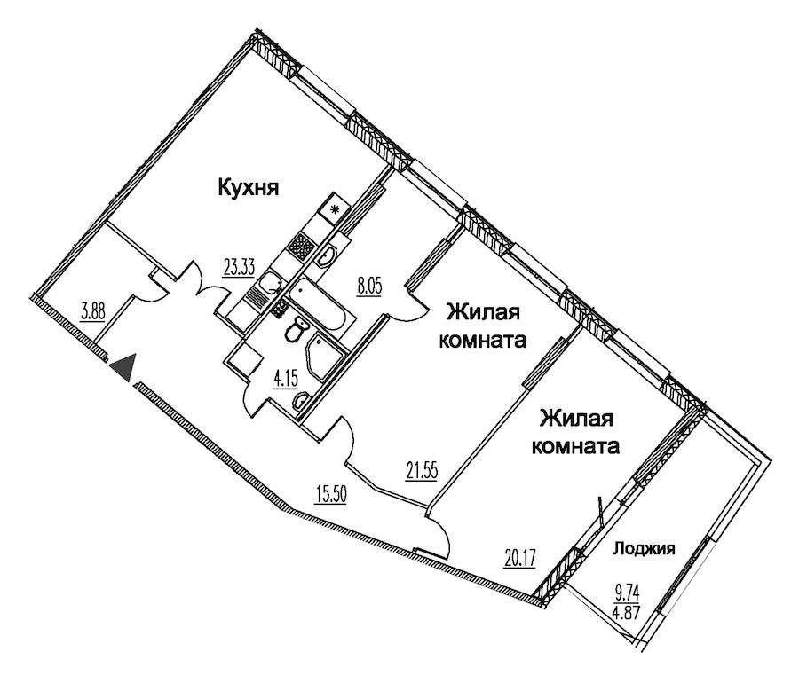 2-комнатная 101 м<sup>2</sup> на 2 этаже