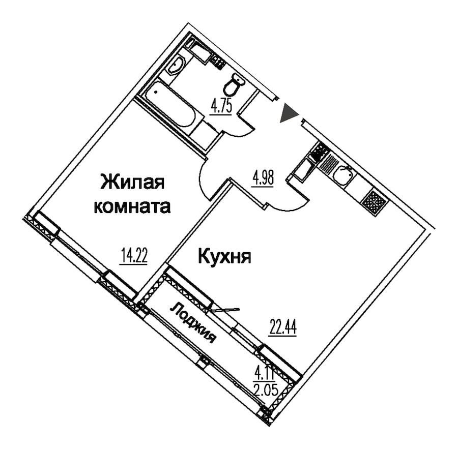 1-комнатная 48 м<sup>2</sup> на 12 этаже