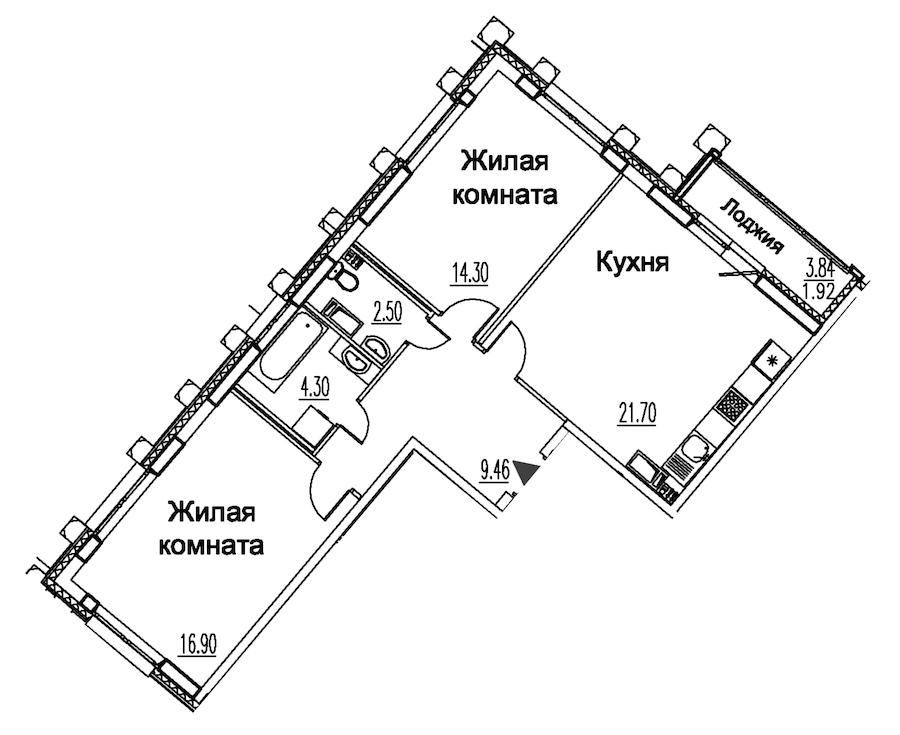2-комнатная 71 м<sup>2</sup> на 12 этаже