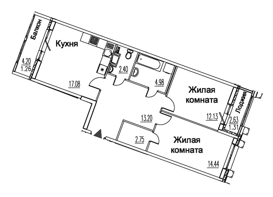2-комнатная 69 м<sup>2</sup> на 10 этаже