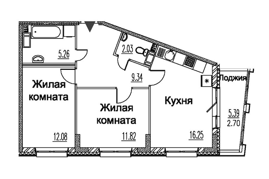 2-комнатная 59 м<sup>2</sup> на 4 этаже