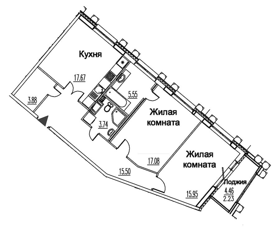 2-комнатная 81 м<sup>2</sup> на 10 этаже