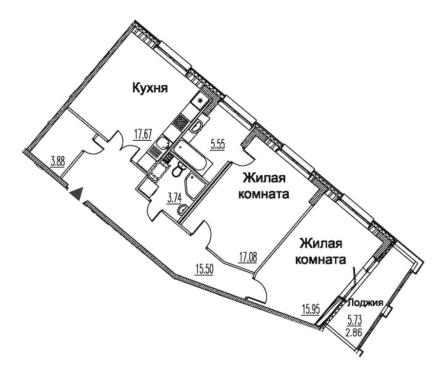 2-комнатная 82 м<sup>2</sup> на 9 этаже