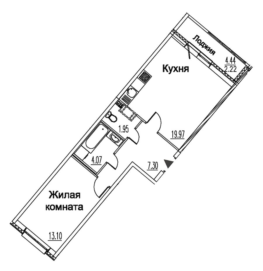 1-комнатная 48 м<sup>2</sup> на 10 этаже