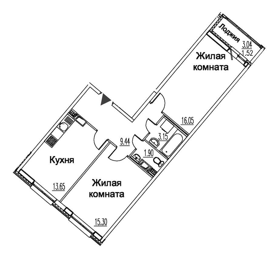 2-комнатная 61 м<sup>2</sup> на 10 этаже
