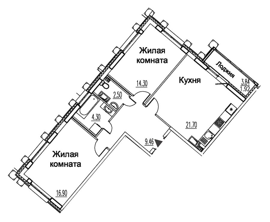 2-комнатная 71 м<sup>2</sup> на 10 этаже