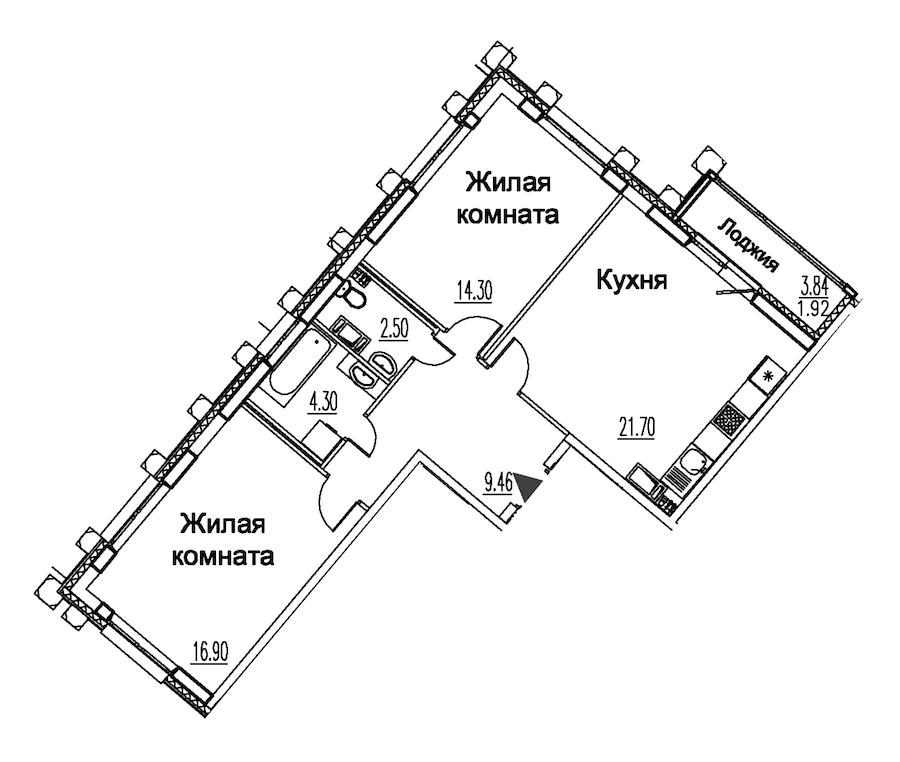 2-комнатная 71 м<sup>2</sup> на 9 этаже