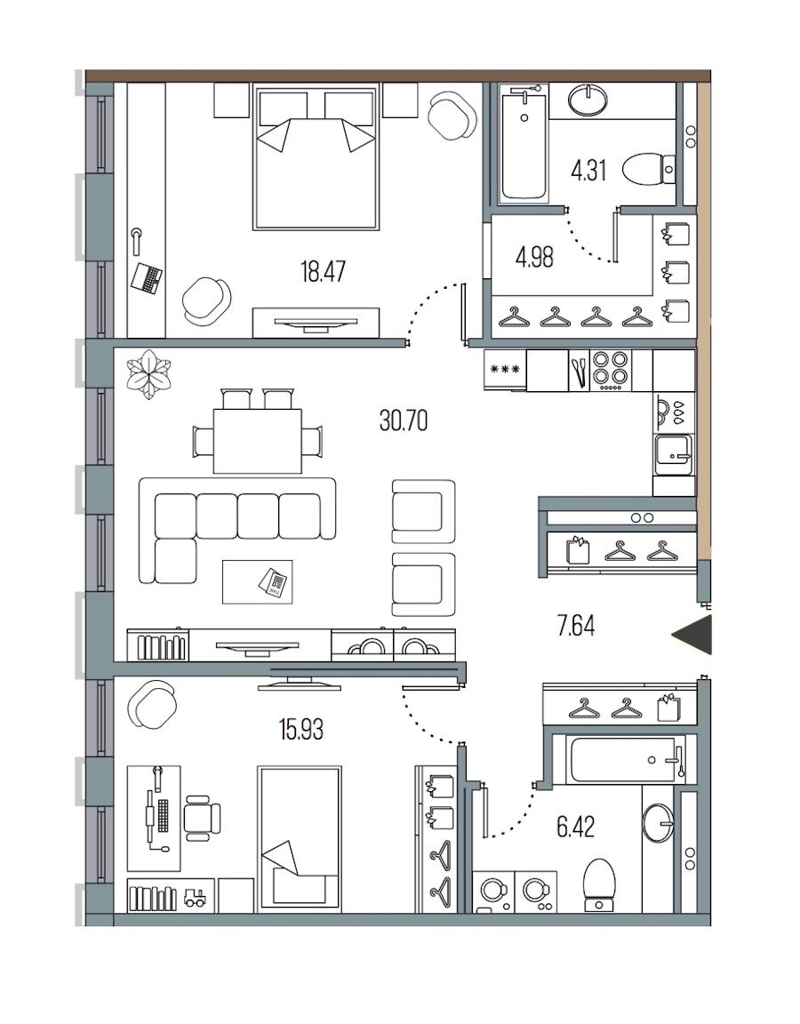 2-комнатная 88 м<sup>2</sup> на 2 этаже
