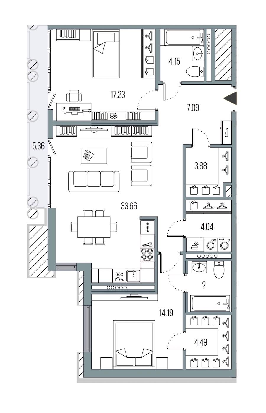 2-комнатная 93 м<sup>2</sup> на 6 этаже