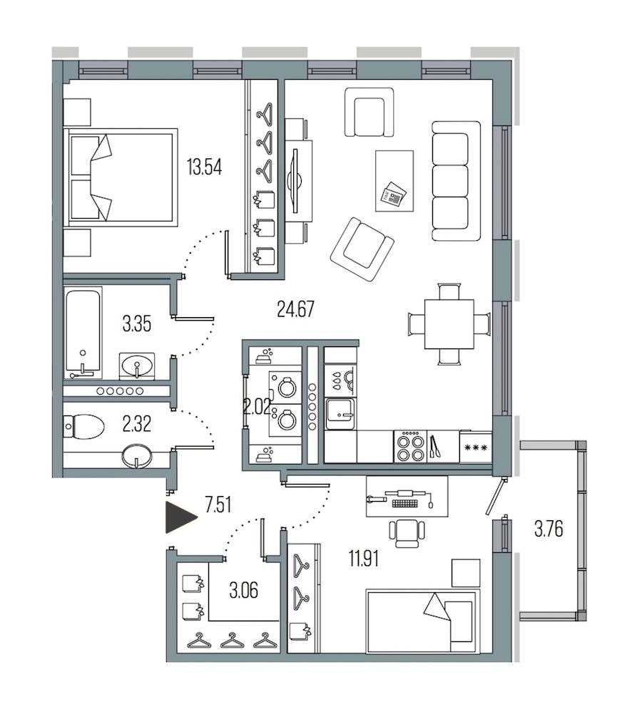 2-комнатная 68 м<sup>2</sup> на 6 этаже