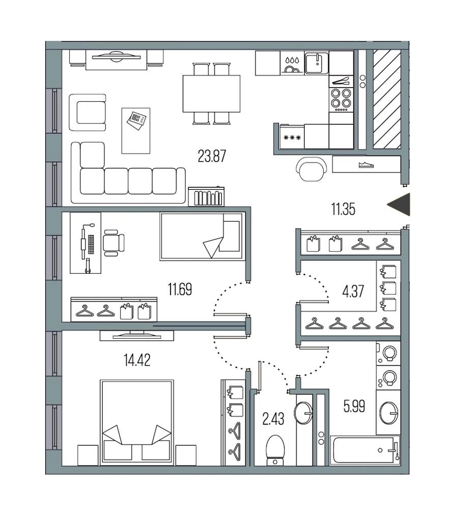 2-комнатная 74 м<sup>2</sup> на 3 этаже