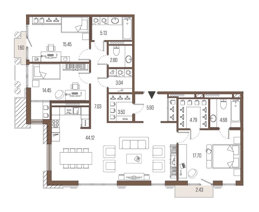 3-комнатная 128 м<sup>2</sup> на 7 этаже