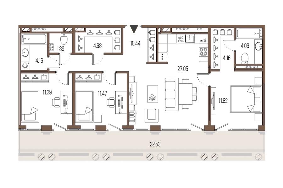 3-комнатная 91 м<sup>2</sup> на 6 этаже