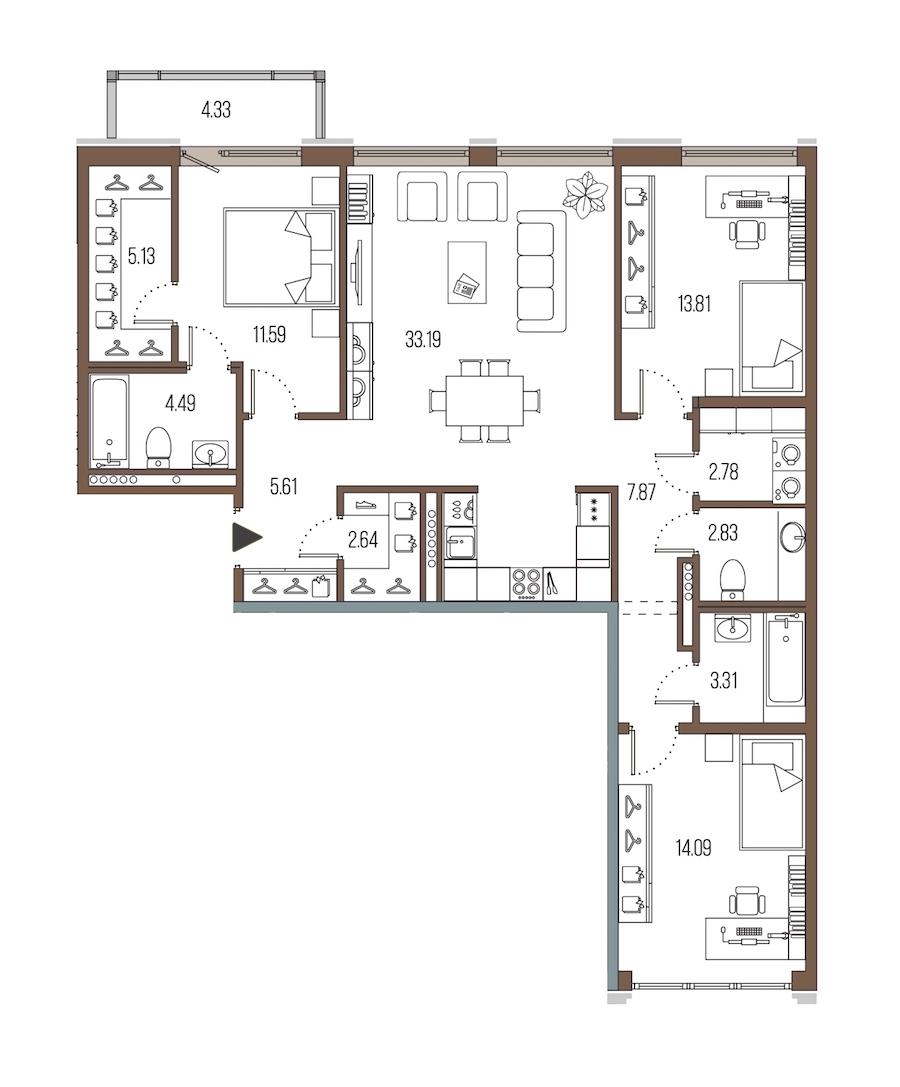 3-комнатная 107 м<sup>2</sup> на 7 этаже