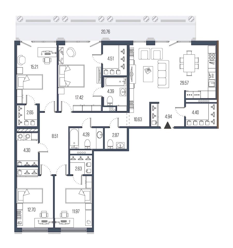 4-комнатная 140 м<sup>2</sup> на 6 этаже