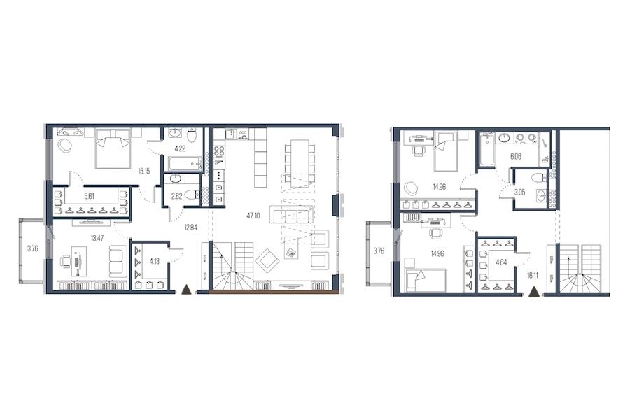 4-комнатная 165 м<sup>2</sup> на 7 этаже
