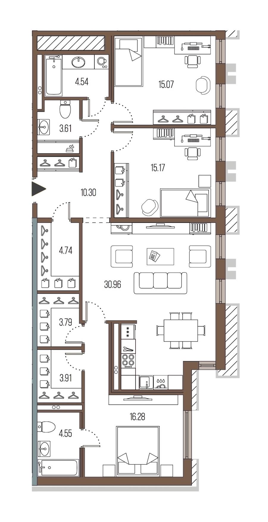 3-комнатная 112 м<sup>2</sup> на 2 этаже