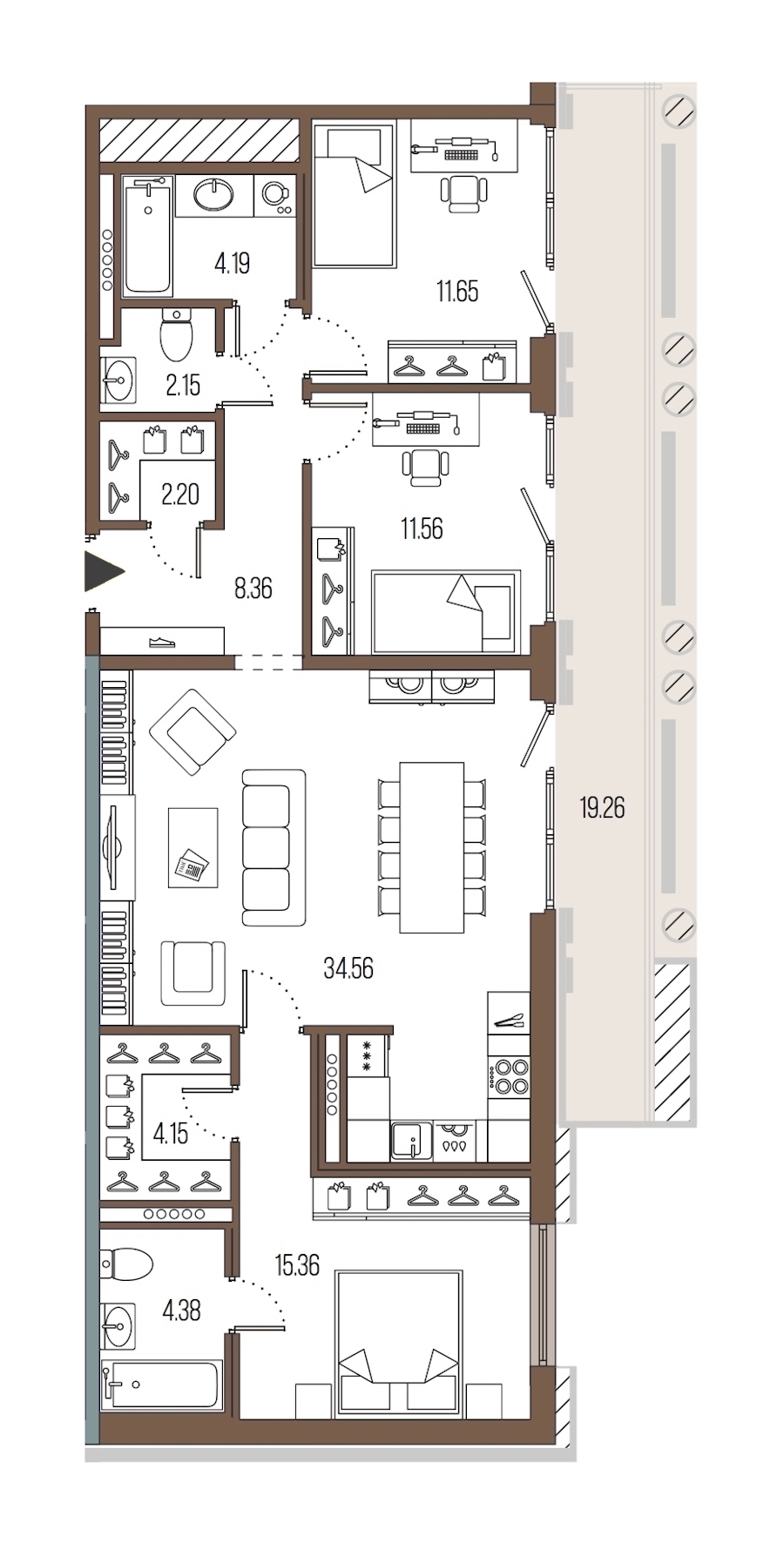 3-комнатная 98 м<sup>2</sup> на 6 этаже