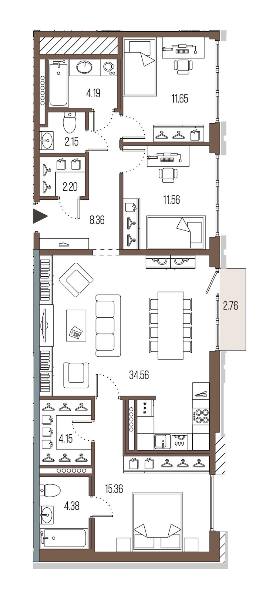 3-комнатная 98 м<sup>2</sup> на 7 этаже