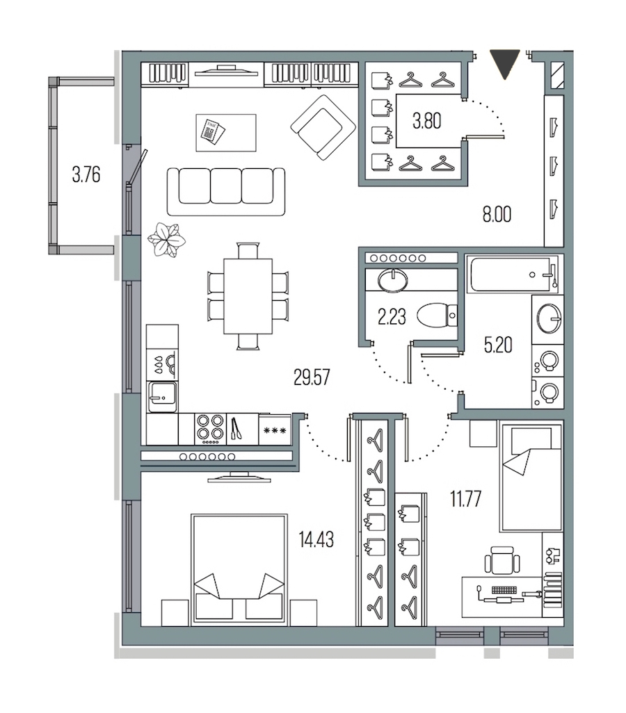 2-комнатная 75 м<sup>2</sup> на 7 этаже