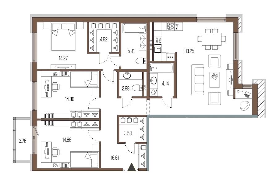 3-комнатная 114 м<sup>2</sup> на 2 этаже