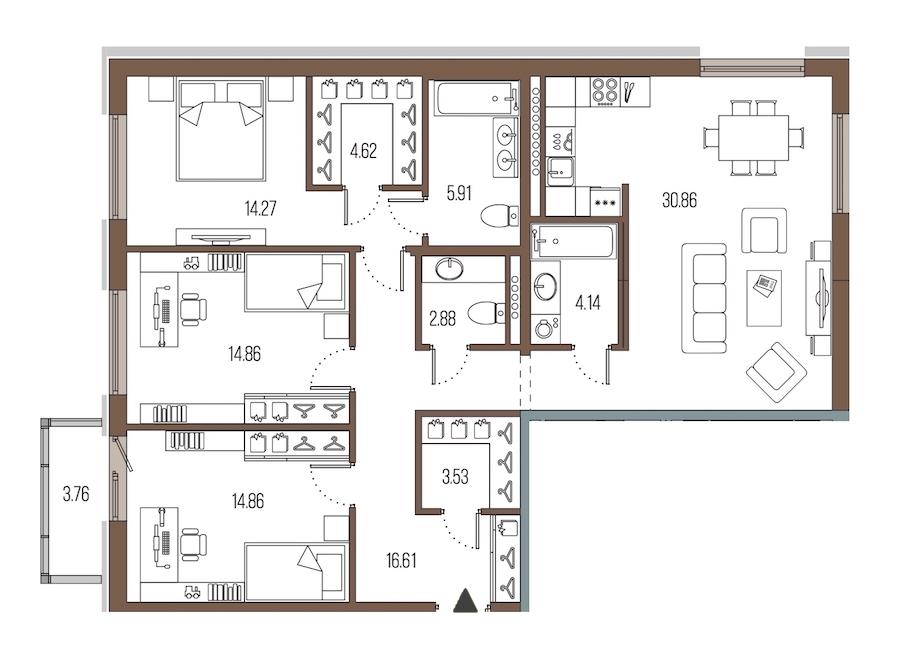 3-комнатная 112 м<sup>2</sup> на 6 этаже