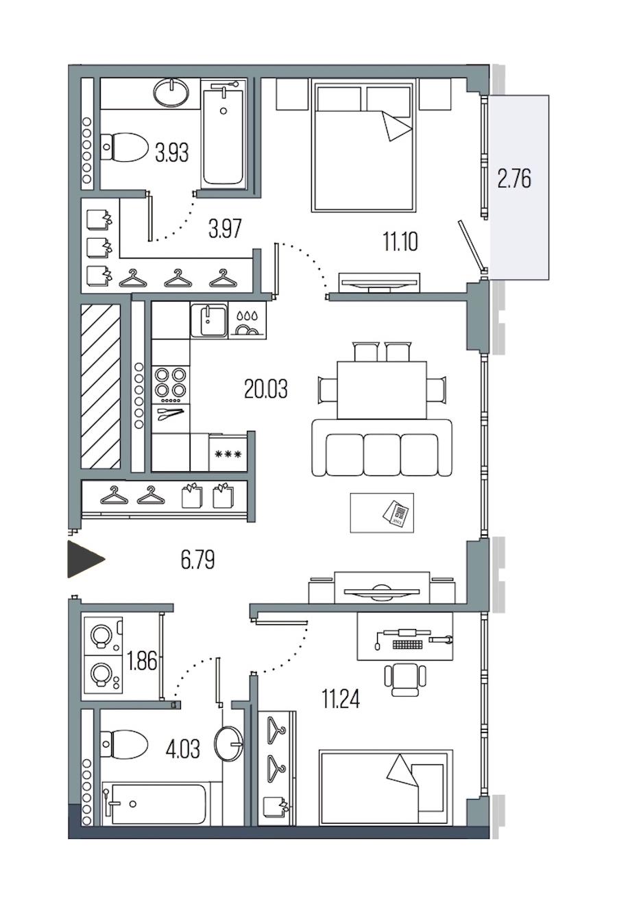 2-комнатная 62 м<sup>2</sup> на 7 этаже