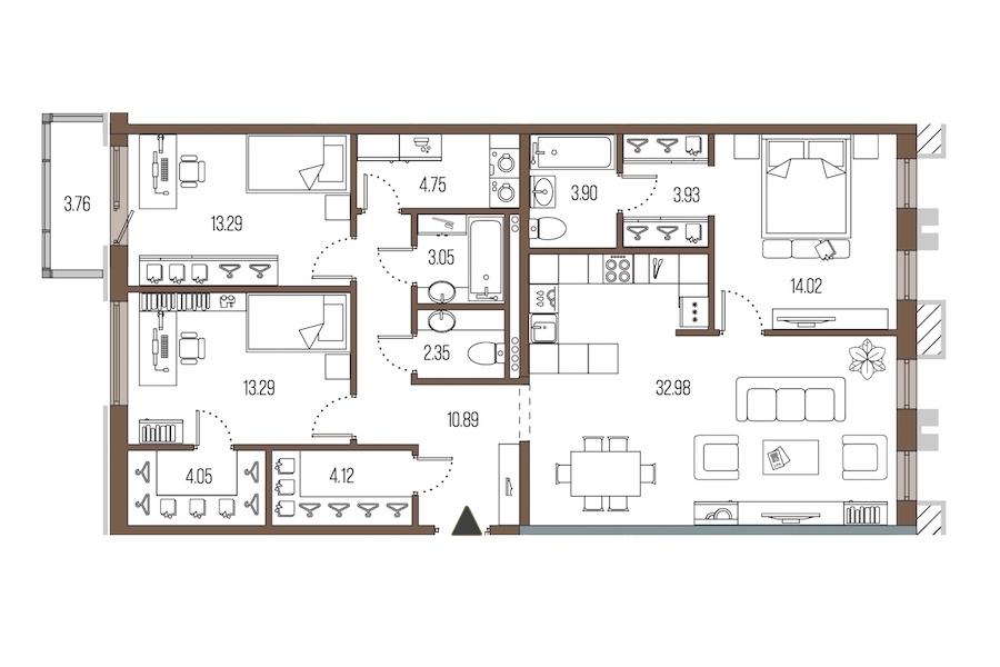 3-комнатная 110 м<sup>2</sup> на 2 этаже