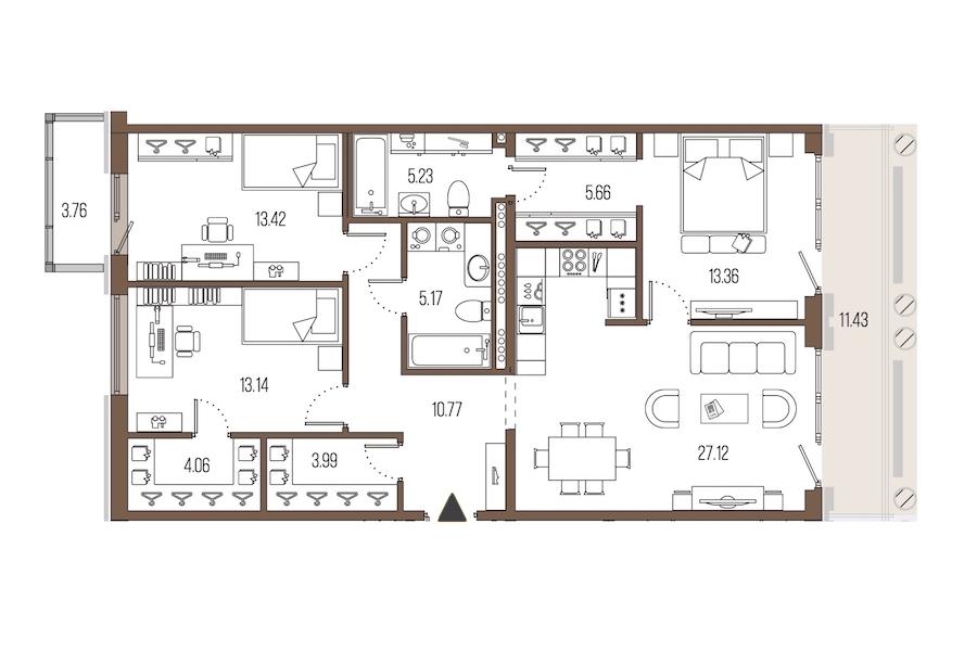 3-комнатная 101 м<sup>2</sup> на 6 этаже