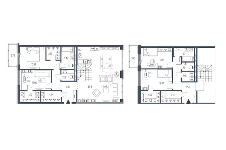 4-комнатная 156 м<sup>2</sup> на 7 этаже