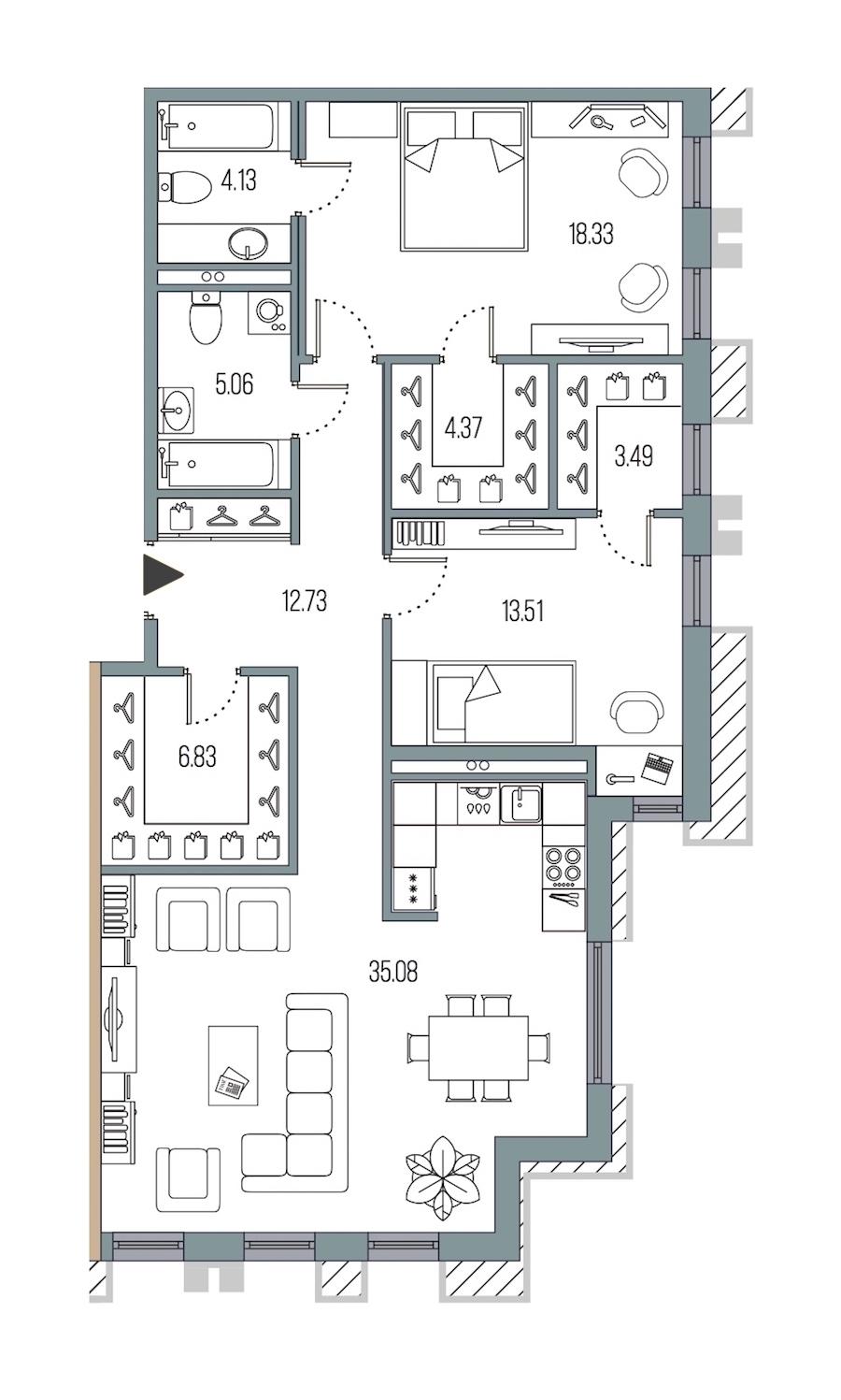 2-комнатная 103 м<sup>2</sup> на 2 этаже