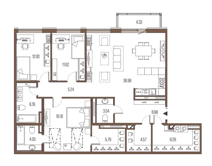 3-комнатная 125 м<sup>2</sup> на 8 этаже