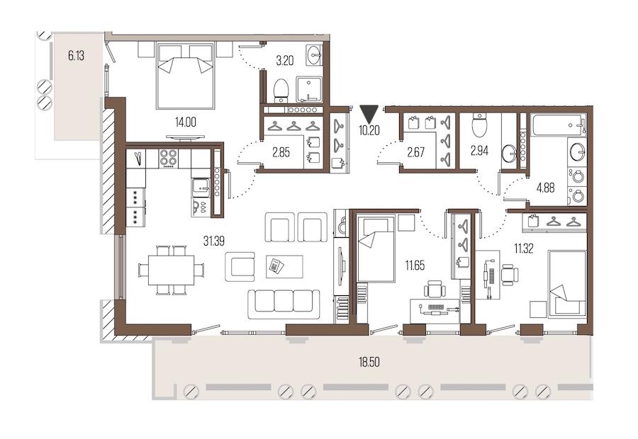 3-комнатная 95 м<sup>2</sup> на 6 этаже