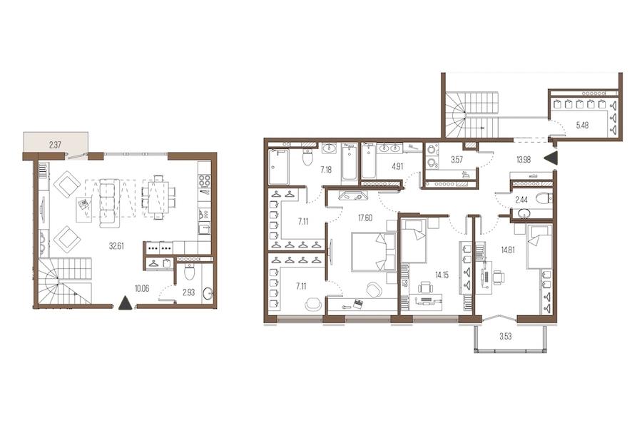3-комнатная 143 м<sup>2</sup> на 7 этаже