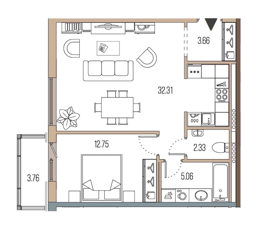1-комнатная 56 м<sup>2</sup> на 6 этаже