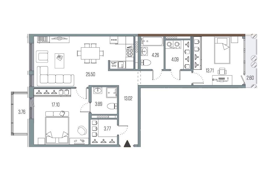 2-комнатная 85 м<sup>2</sup> на 6 этаже