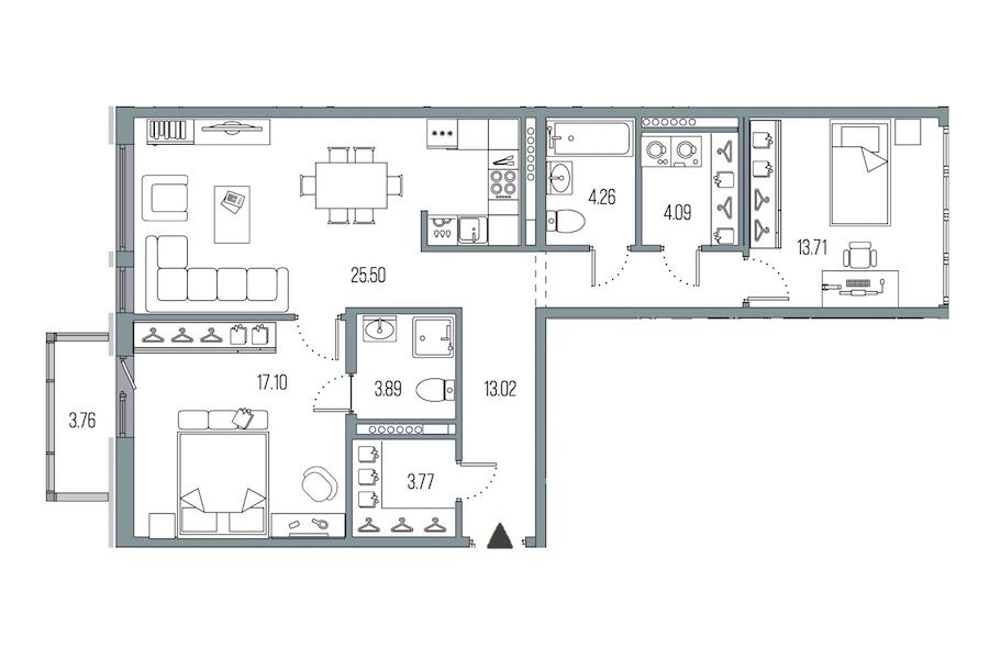 2-комнатная 85 м<sup>2</sup> на 7 этаже