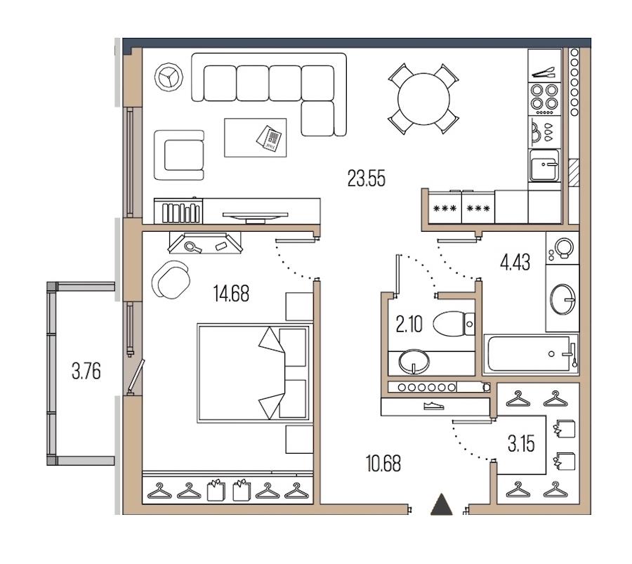 1-комнатная 58 м<sup>2</sup> на 8 этаже