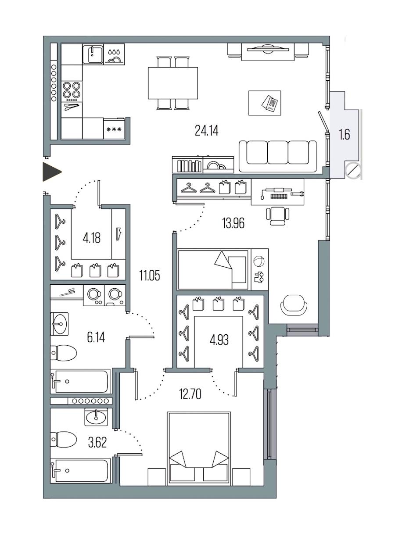 2-комнатная 80 м<sup>2</sup> на 7 этаже