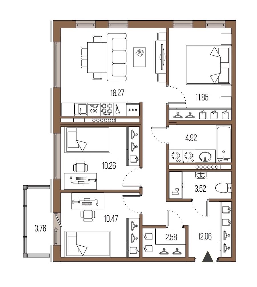 3-комнатная 73 м<sup>2</sup> на 7 этаже