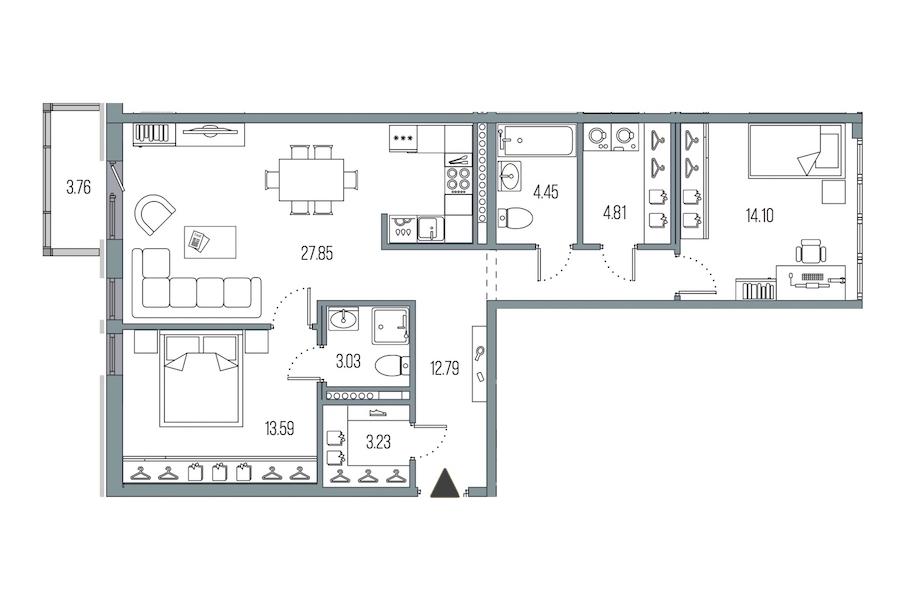 2-комнатная 83 м<sup>2</sup> на 7 этаже