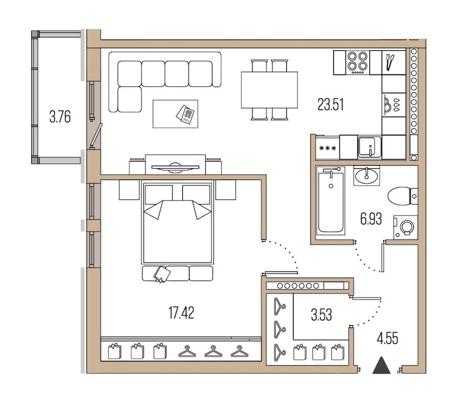1-комнатная 55 м<sup>2</sup> на 8 этаже